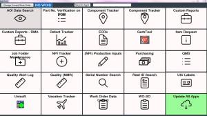 Burton Industries Manufacturing Dashboard App Menu